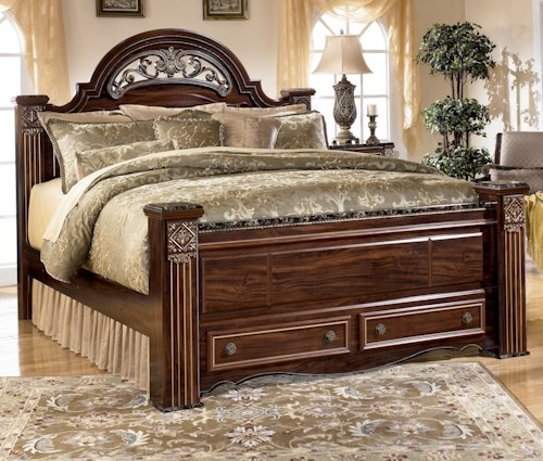 Signature Design by Ashley Gabriela Traditional Queen Poster Storage Bed with Drawers