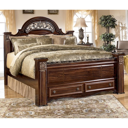 Signature Design by Ashley Gabriela Traditional King Poster Storage Bed with Drawers