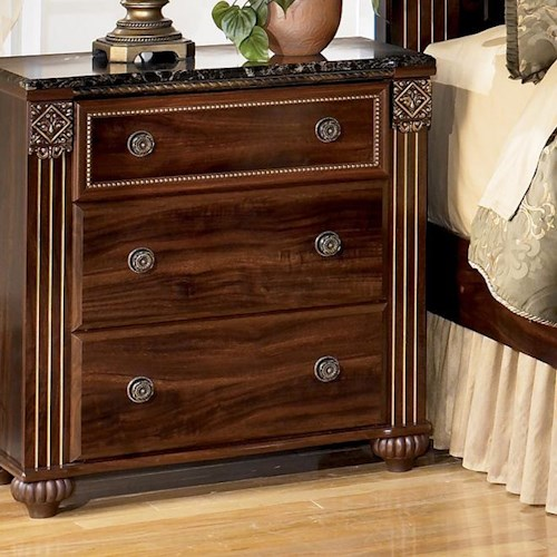 Signature Design by Ashley Gabriela Traditional Night Stand with 3 Drawers