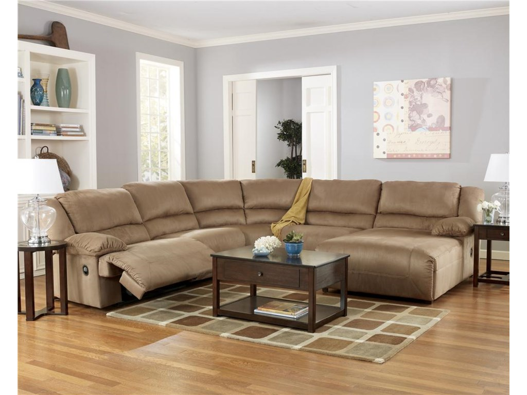 Ashley Signature Design Hogan Mocha5 Piece Sectional Sofa Group With Chaise