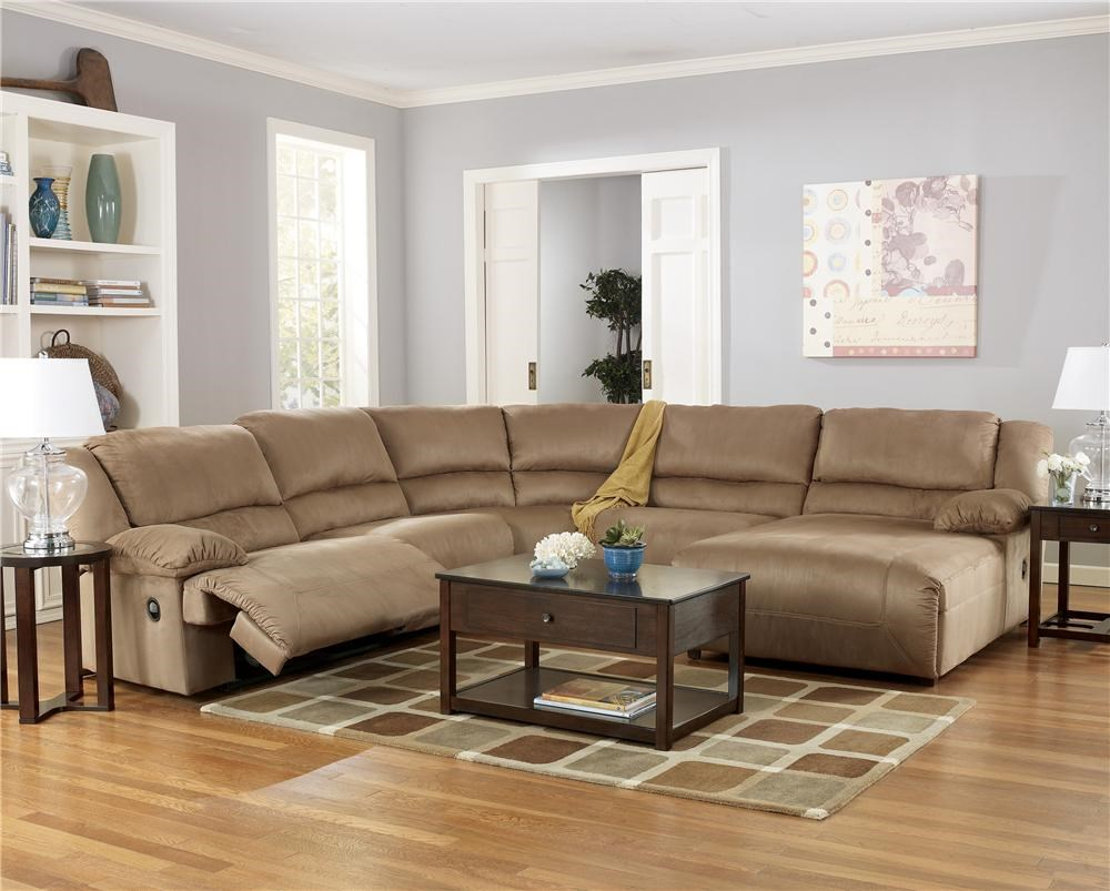 Signature Design By Ashley Hogan   Mocha5 Piece Sectional Sofa Group With  Chaise ...