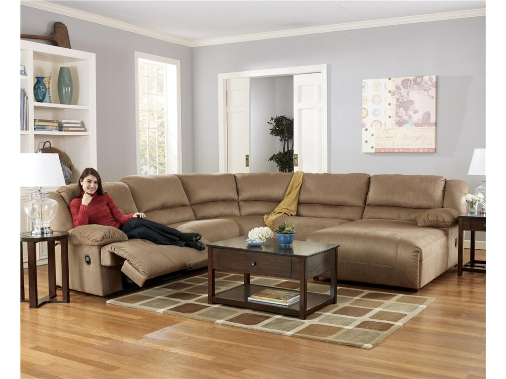 Signature Design by Ashley Hogan - Mocha5 Piece Sectional Sofa Group with Chaise