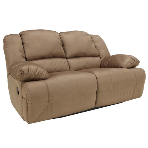 Signature Design by Ashley Hogan - Mocha Reclining Loveseat with Padded Arms