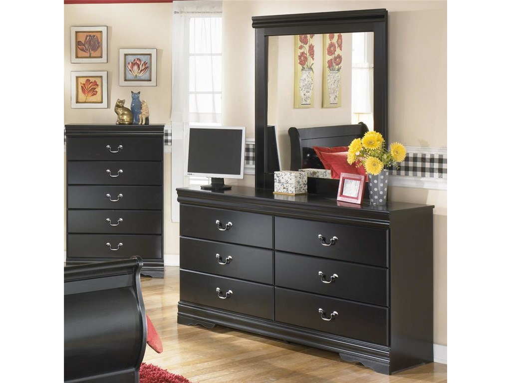Dresser and Mirror Shown with Chest in Background