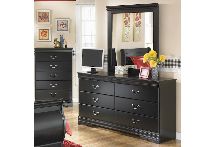 Ashley Signature Design Huey Vineyard B128 31 36 6 Drawer Dresser And Mirror Combination Dunk Bright Furniture Dresser Mirror Sets