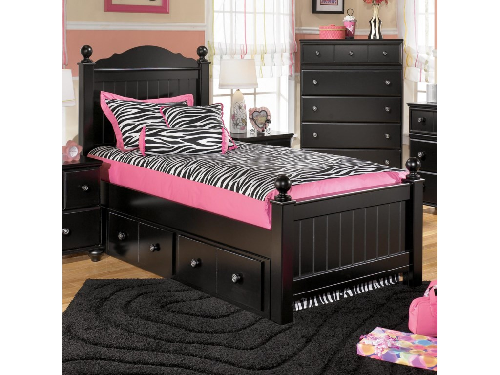 Ashley Signature Design Jaidyn Twin Poster Bed with Underbed ...
