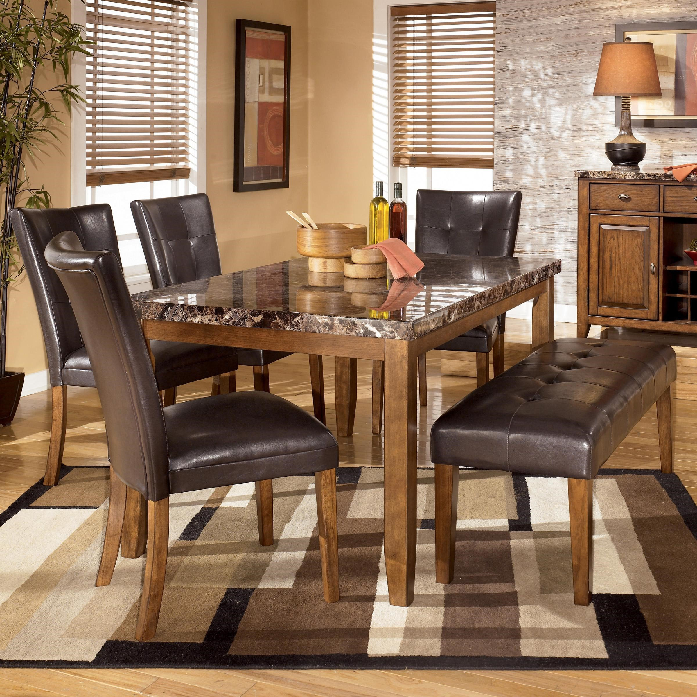 Picture of: Signature Design By Ashley Lacey 6 Piece Dining Table With Side Chairs Bench Set Royal Furniture Table Chair Set With Bench