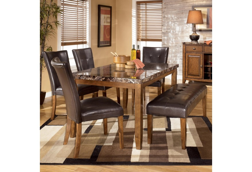Lacey 6 Piece Dining Table With Side Chairs Bench Set By Signature Design Ashley At Furniture And Liancemart