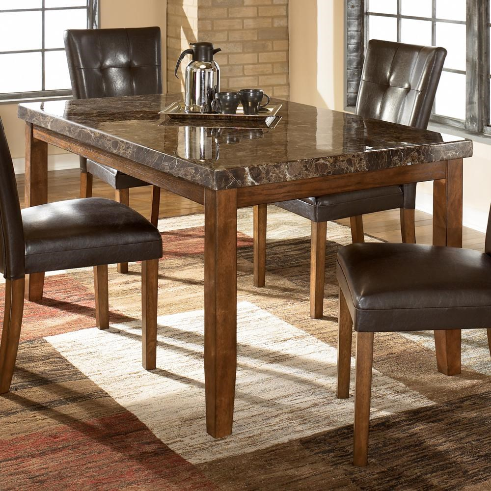 Picture of: Signature Design By Ashley Lacey Rectangular Dining Table W Faux Marble Top Wayside Furniture Dining Tables