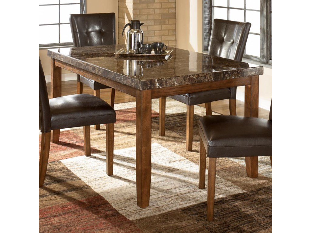 Signature Design By Ashley Lacey Rectangular Dining Table W Faux Marble Top Wayside Furniture Dining Tables