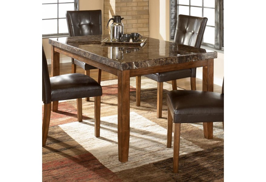Signature Design Lacey Rectangular Dining Table W Faux Marble Top Fisher Home Furnishings Dining Tables