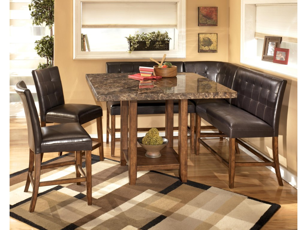 Shown with Square Table, Bar Stools, and Double Bar Stools
