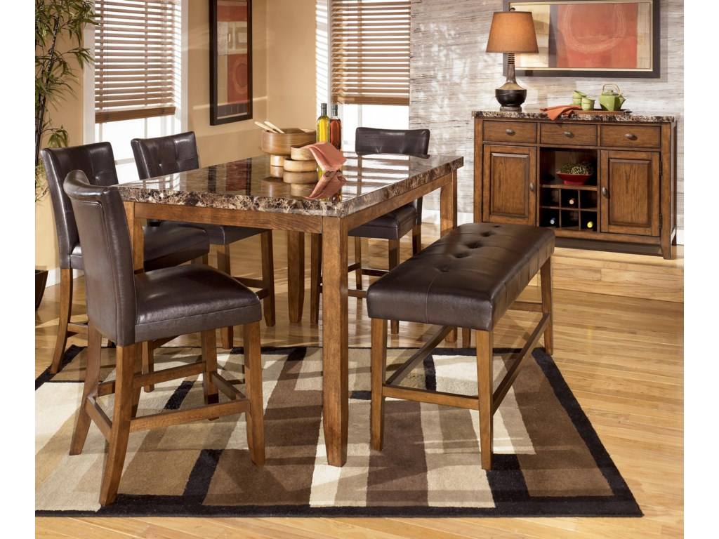 Shown with Rectangular Counter Height Table, Bar Stools, and Double Backless Counter Height Stool
