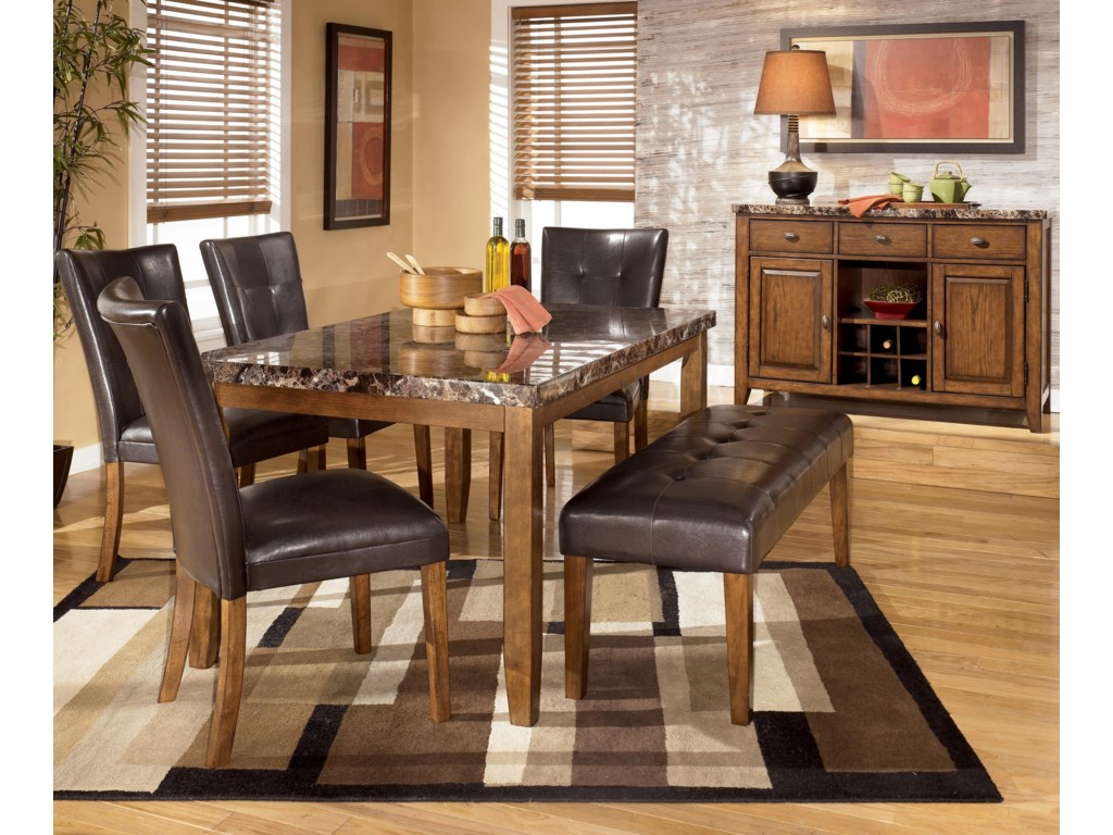 Shown with Rectangular Dining Table, Side Chairs, and Double Backless Stool