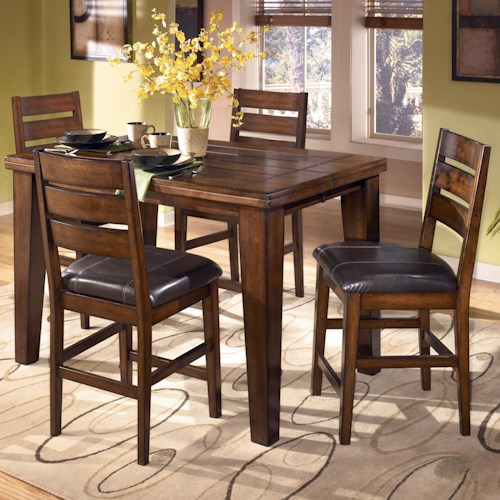 Signature Design by Ashley Larchmont Butterfly Leaf Pub Table and 4 Bar Stools