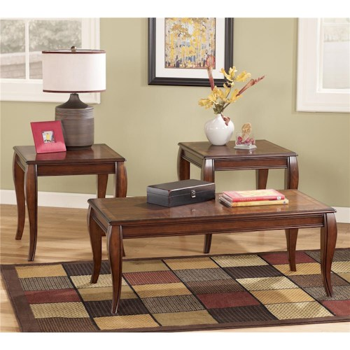 Signature Design by Ashley Mattie Transitional 3-in-1 Pack Occasional Tables in Cherry Finish
