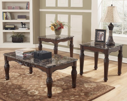 Signature Design by Ashley North Shore 3-in-1 Pack Traditional Occasional Table Group with Faux Marble Tops