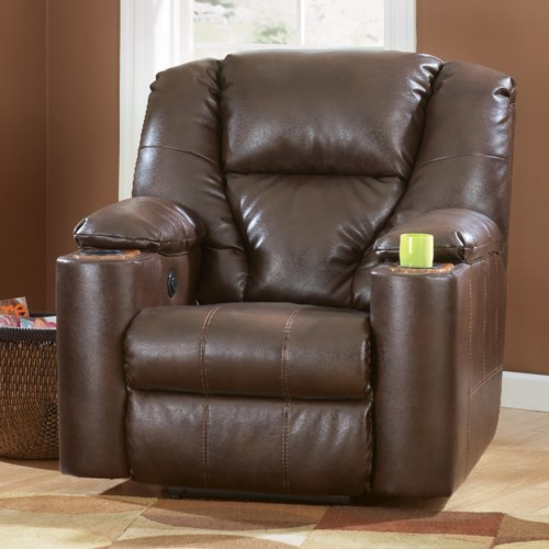 recliner with cup holder Signature Design by Ashley Paramount DuraBlend®   Brindle Power  recliner with cup holder