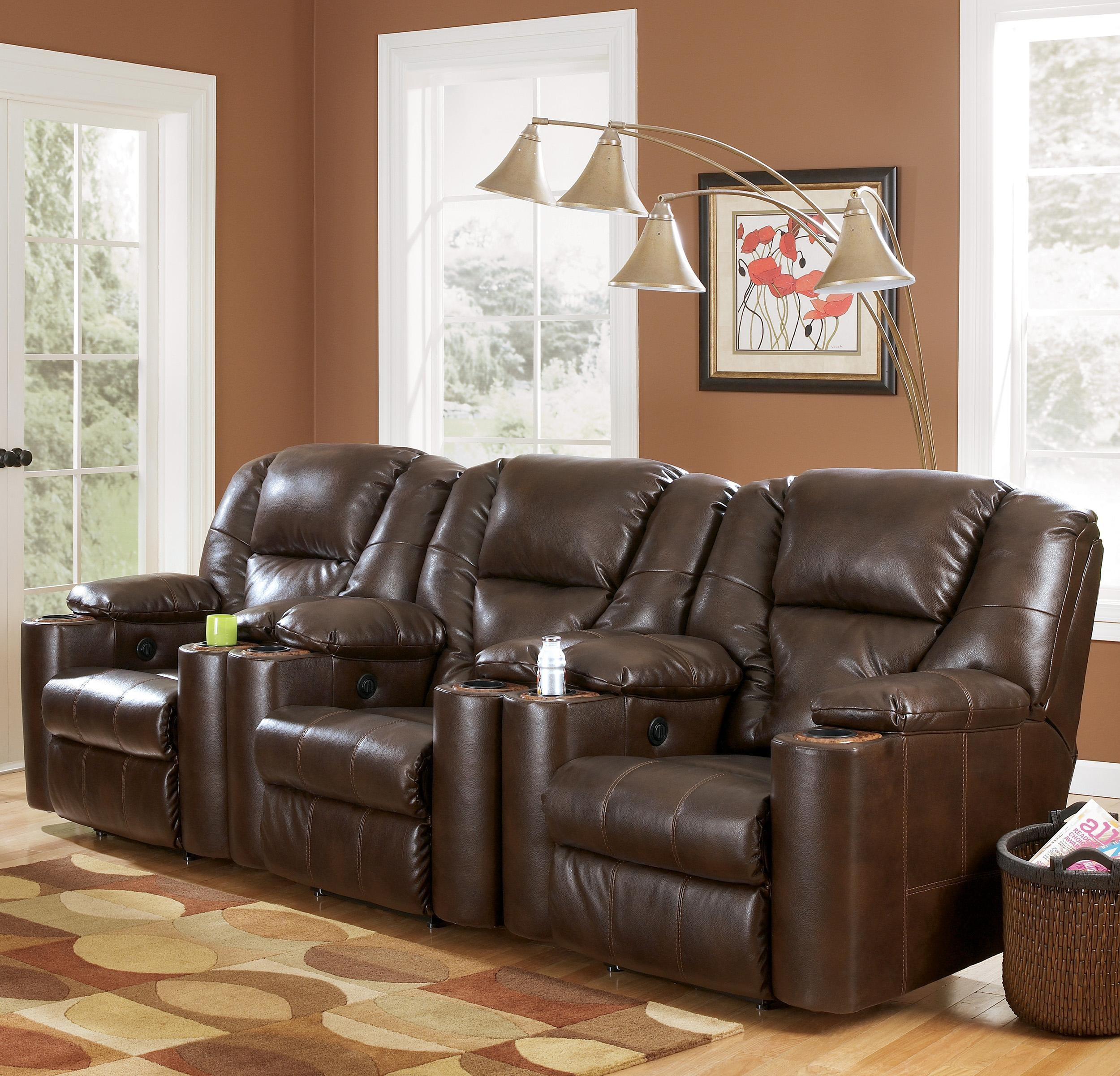 Exceptional Signature Design By Ashley Paramount DuraBlend®   Brindle Power 3 Piece  Reclining Home Theater