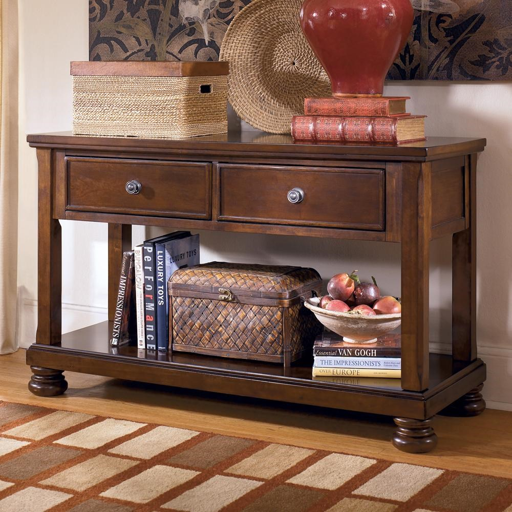 Signature Design By Ashley Porter T697 4 Sofa Table Media Console  ~ Sofa Tables With Drawers