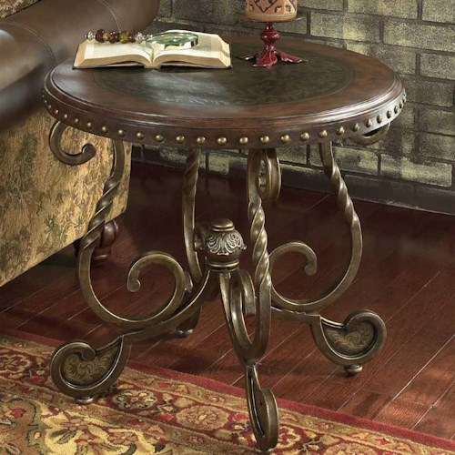 Signature Design by Ashley Rafferty  Round End Table With Wooden Top And Metal Legs