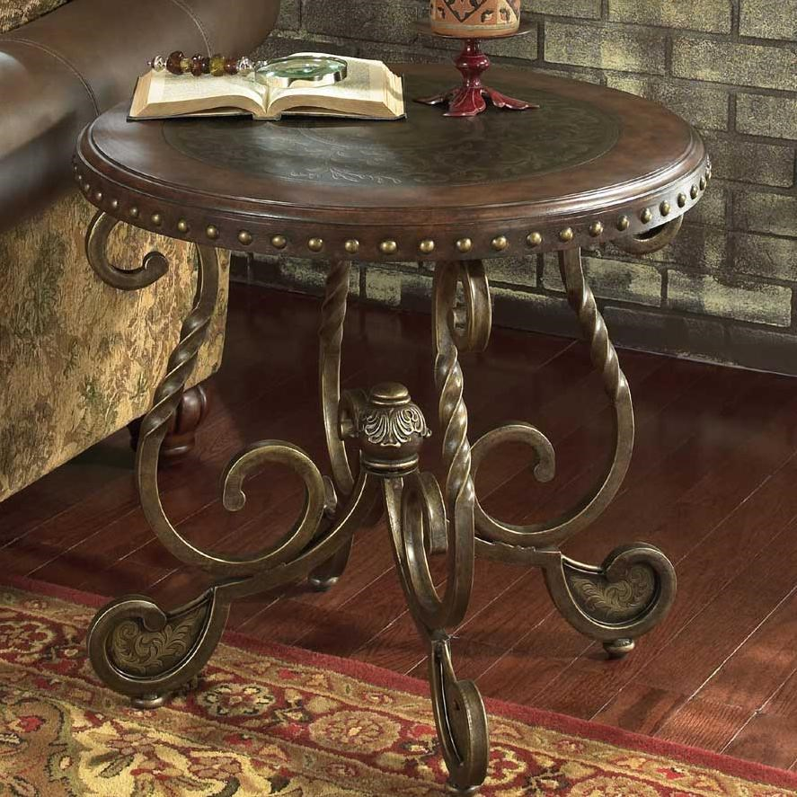 Attirant Signature Design By Ashley Rafferty Round End Table With Wooden Top And  Metal Legs