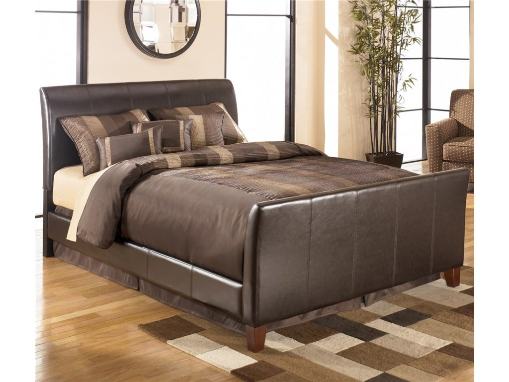 signature design by ashley stanwick queen faux leather upholstered  - signature design by ashley stanwick queen faux leather upholstered sleighbed  furniture superstore  nm  upholstered bed