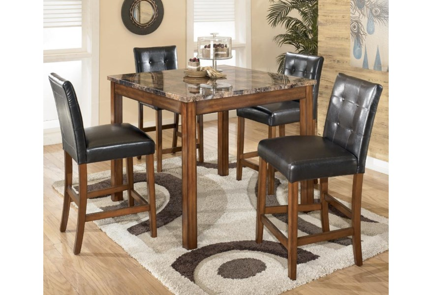 Theo 5 Piece Square Counter Height Table Set With Bar Stools By Signature Design Ashley At Home Furnishings Direct