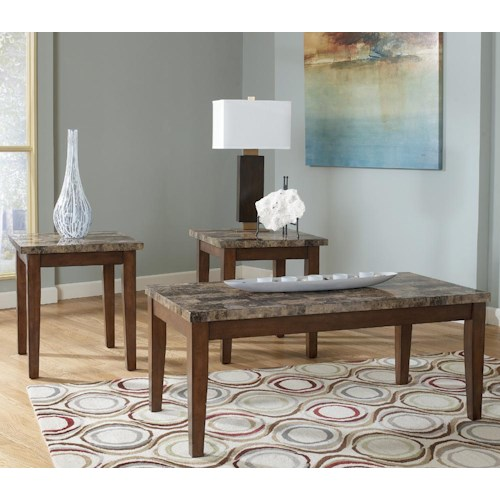 Signature Design by Ashley Theo 3-in-1 Pack of Occasional Tables with Faux Marble Tops