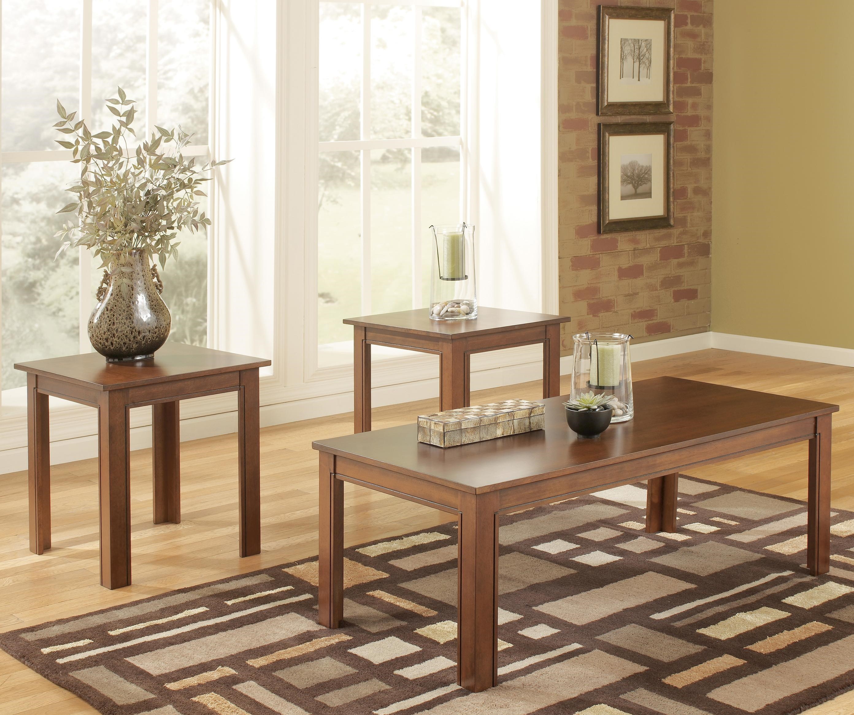 Signature Design By Ashley Yoshi 3 Piece Table Set With Two End Tables