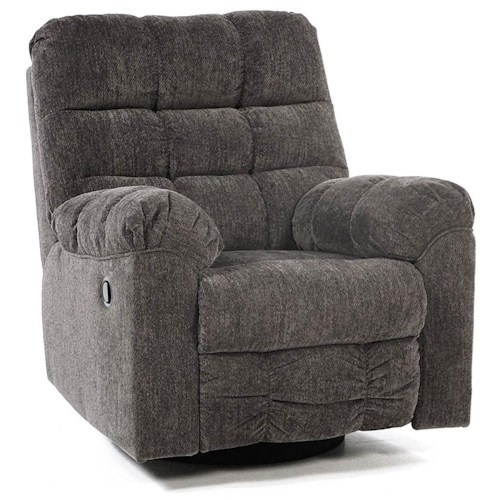 Signature Design by Ashley Addie Swivel Rocker Recliner with Quilted Cushion Style
