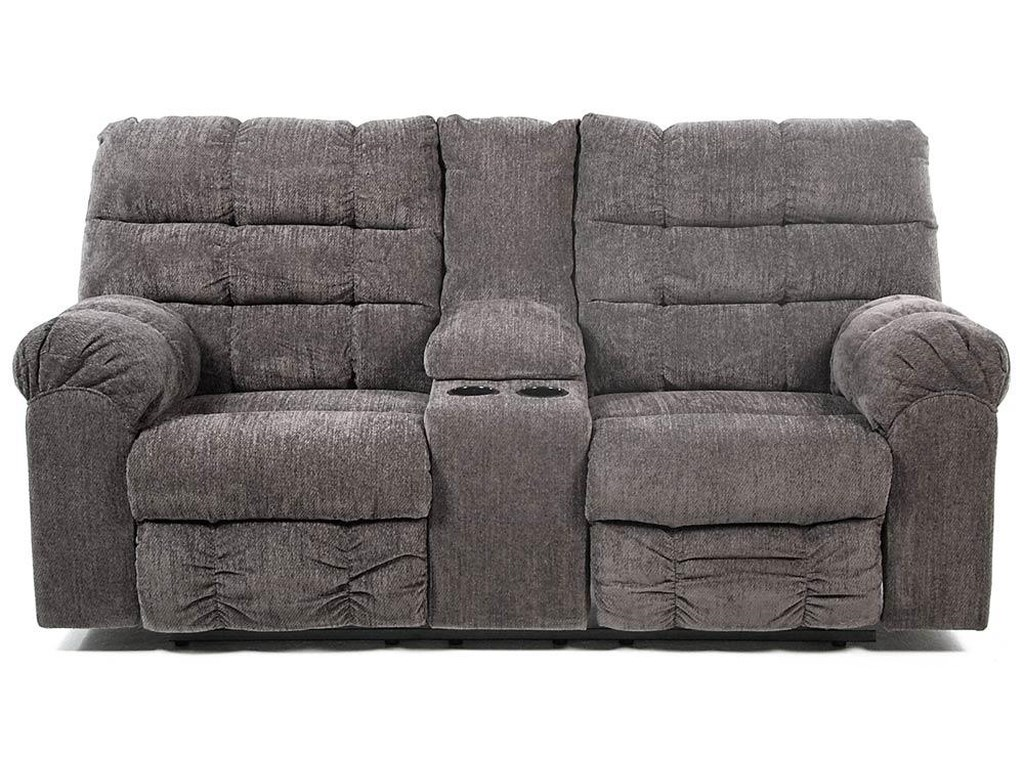 Acieona Slate Double Reclining Loveseat With Console And Cup Holders By Signature Design Ashley At Rotmans