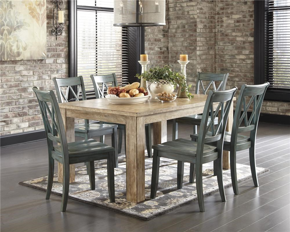 Signature Design By Ashley Mestler 5 Piece Table Set With Antique Blue Chrs