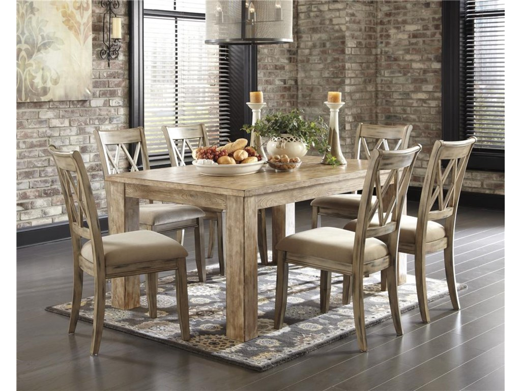 Signature Design by Ashley Mestler 5-Piece Table Set with Antique White Chr - Signature Design By Ashley Mestler 5-Piece Table Set With Antique