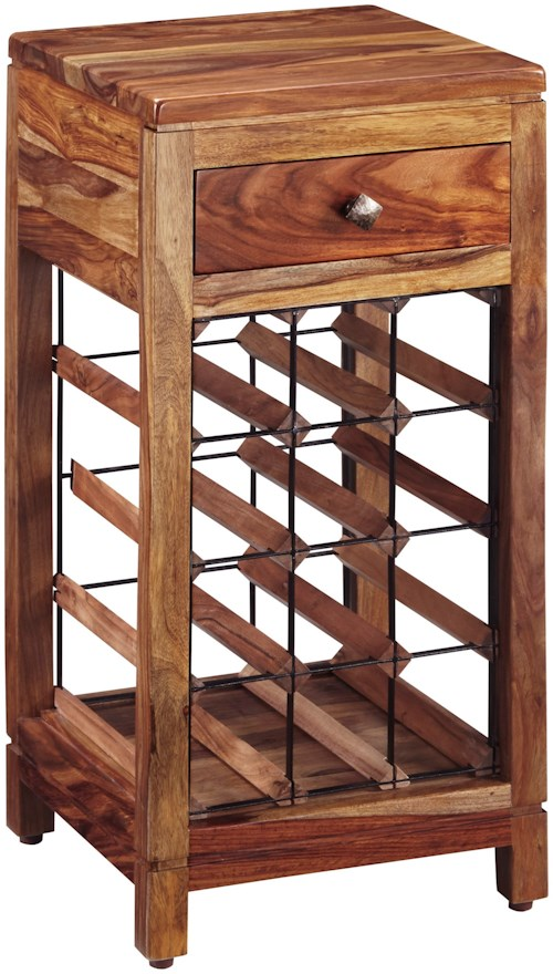 Signature Design by Ashley Abbonto Sheesham Solid Wood Wine Cabinet