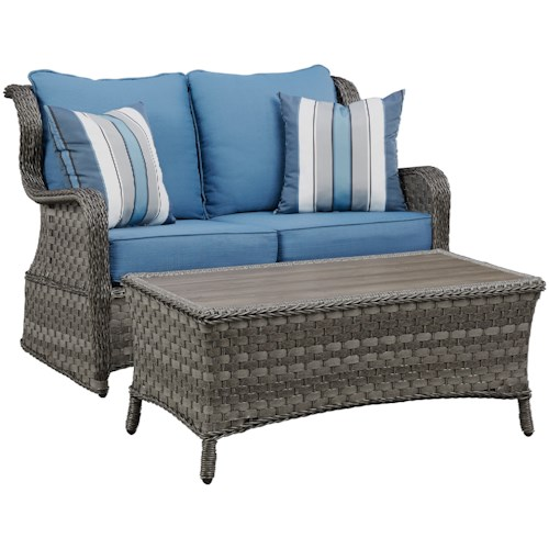Signature Design by Ashley Abbots Court Outdoor Loveseat Glider w/ Table