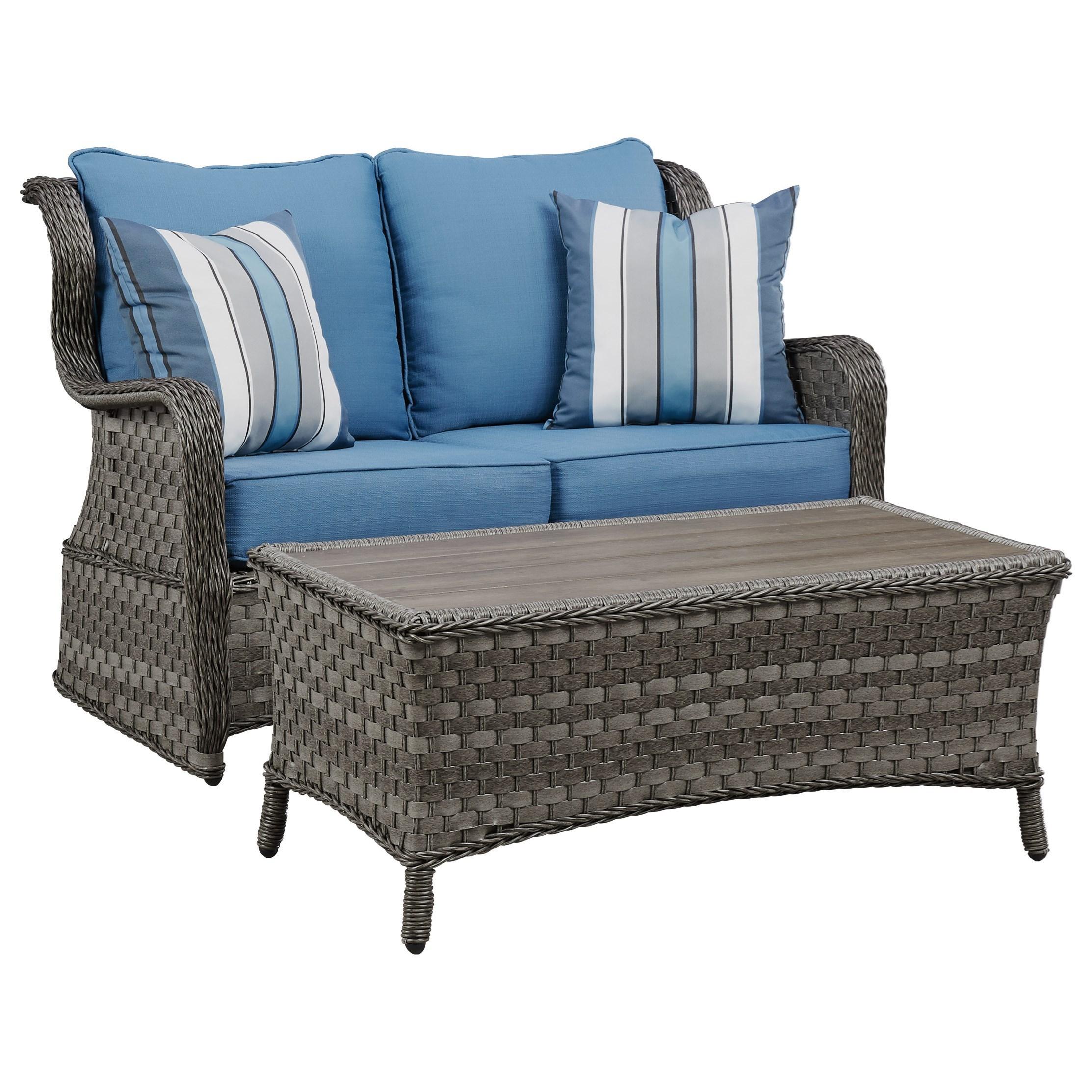 Signature Design By Ashley Abbots Court Outdoor Loveseat Glider W/ Table    John V Schultz Furniture   Outdoor Loveseats