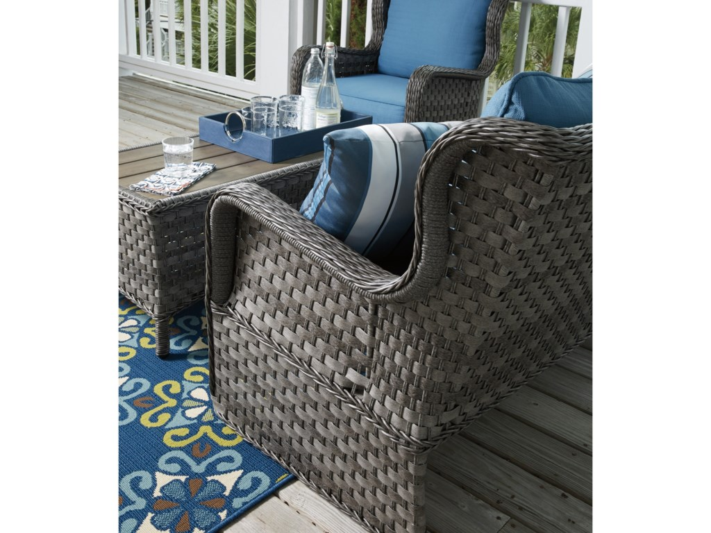 Signature Design by Ashley Abbots CourtOutdoor Loveseat Glider w/ Table
