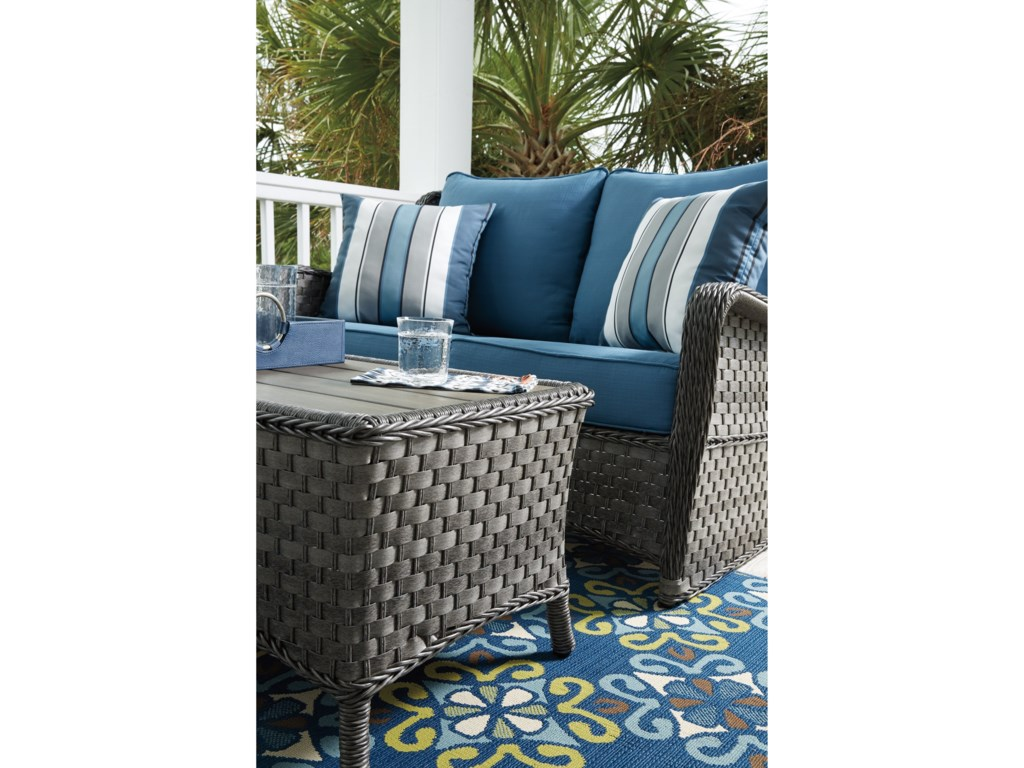Ashley (Signature Design) Abbots CourtOutdoor Loveseat Glider w/ Table
