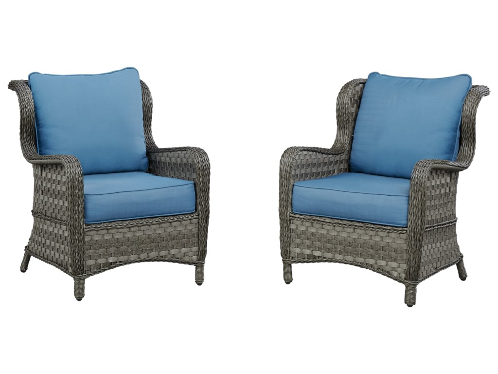 Signature Design by Ashley Abbots CourtSet of 2 Outdoor Lounge Chairs w/ Cushion
