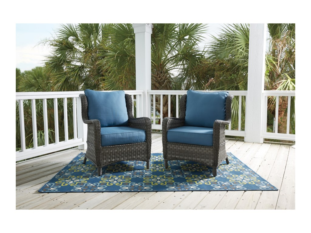 Signature Design by Ashley CourtneySet of 2 Outdoor Lounge Chairs w/ Cushion