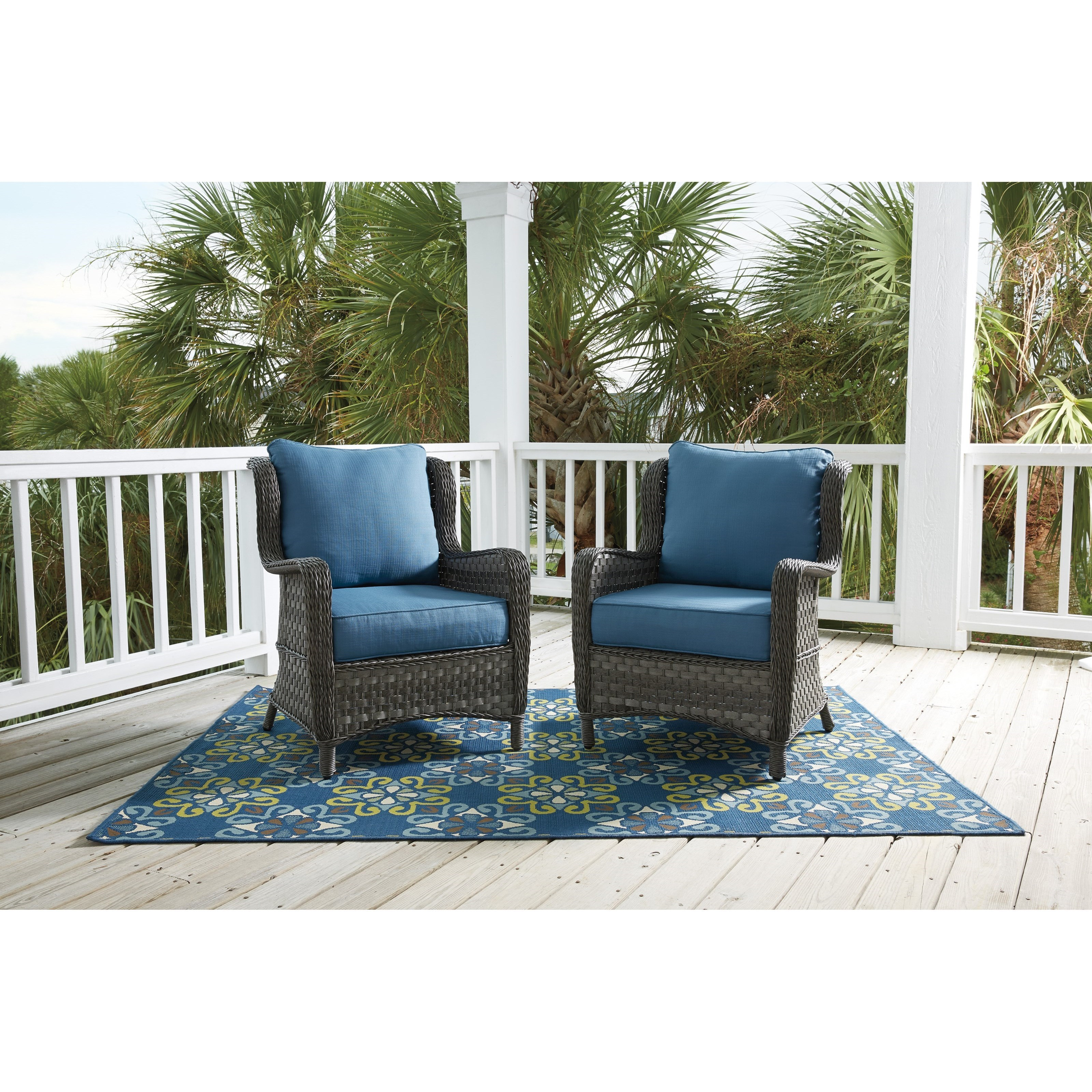 ... Signature Design By Ashley Abbots CourtSet Of 2 Outdoor Lounge Chairs  W/ Cushion ...