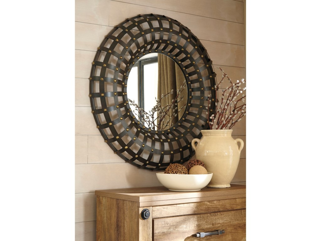 Signature Design Accent MirrorsOgier Brown/Gold Finish Accent Mirror