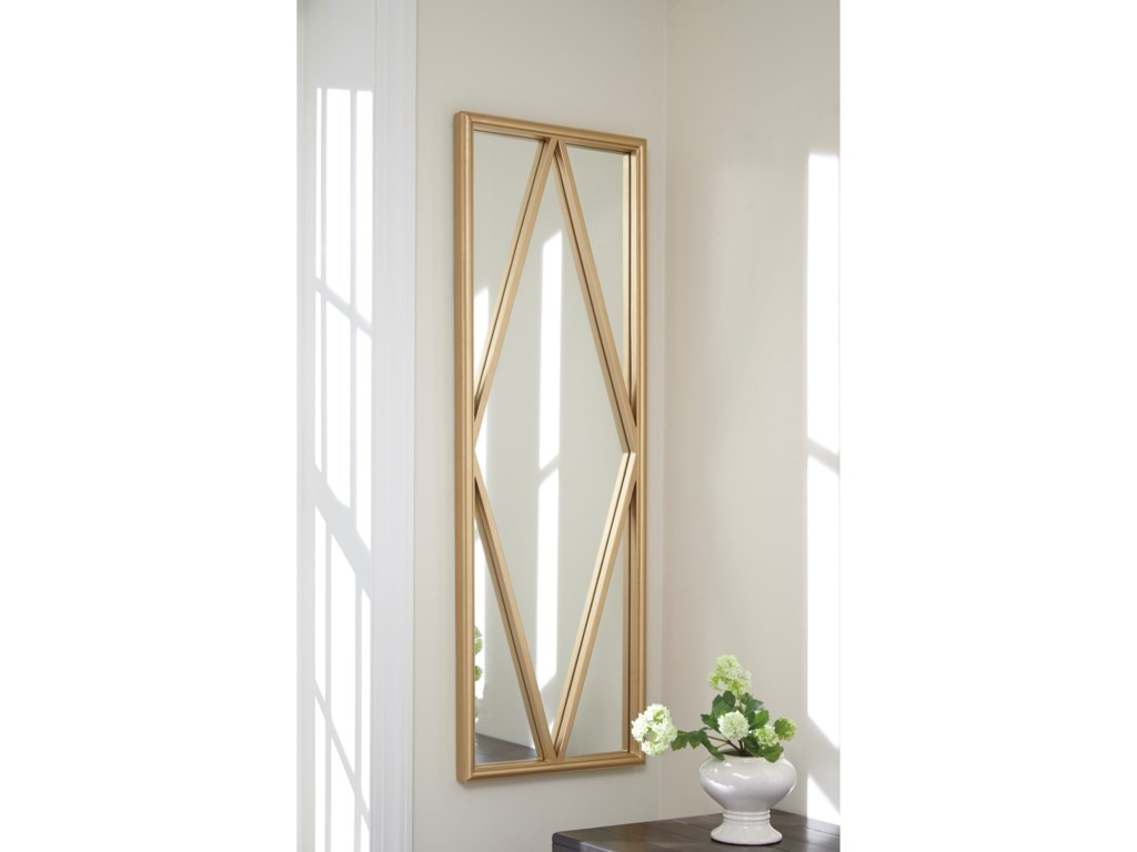 Ashley (Signature Design) Accent MirrorsOffa Gold Finish Accent Mirror