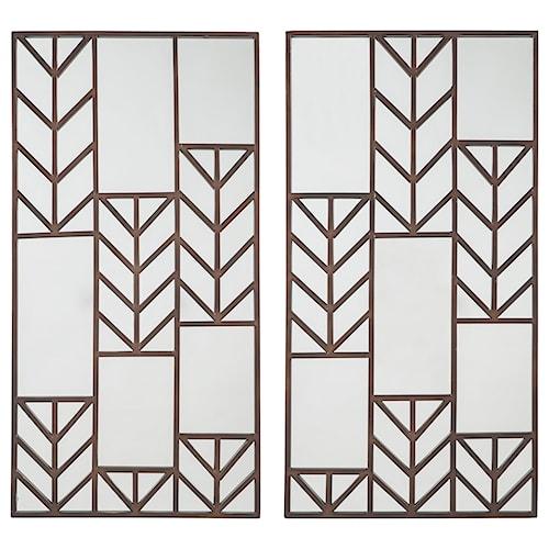 Signature Design by Ashley Accent Mirrors Daniela Antique Bronze Finish Accent Mirror Set