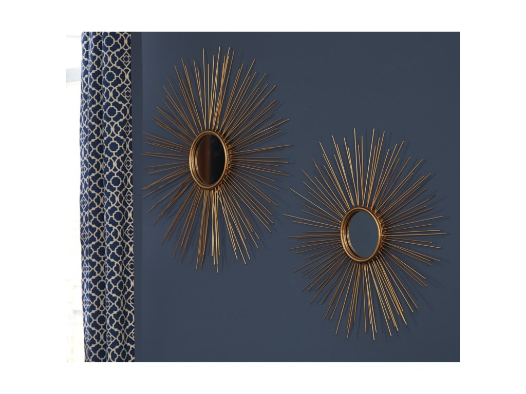 Signature Design by Ashley Accent MirrorsDoniel Antique Gold Finish Accent Mirror Set