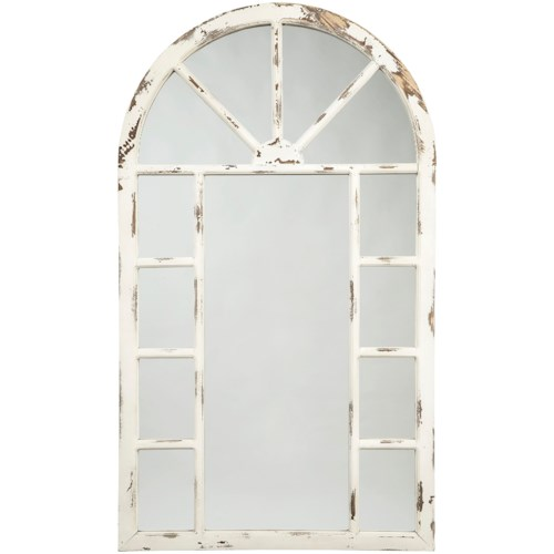 Signature Design by Ashley Accent Mirrors Divakar Antique White Accent Mirror in Arched Window Design