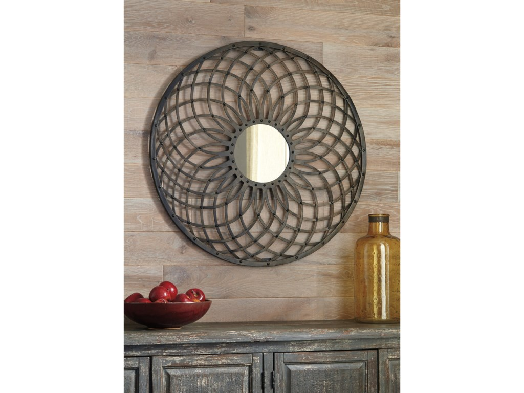 Signature Design by Ashley Accent MirrorsDunstan Antique Bronze Finish Accent Mirror