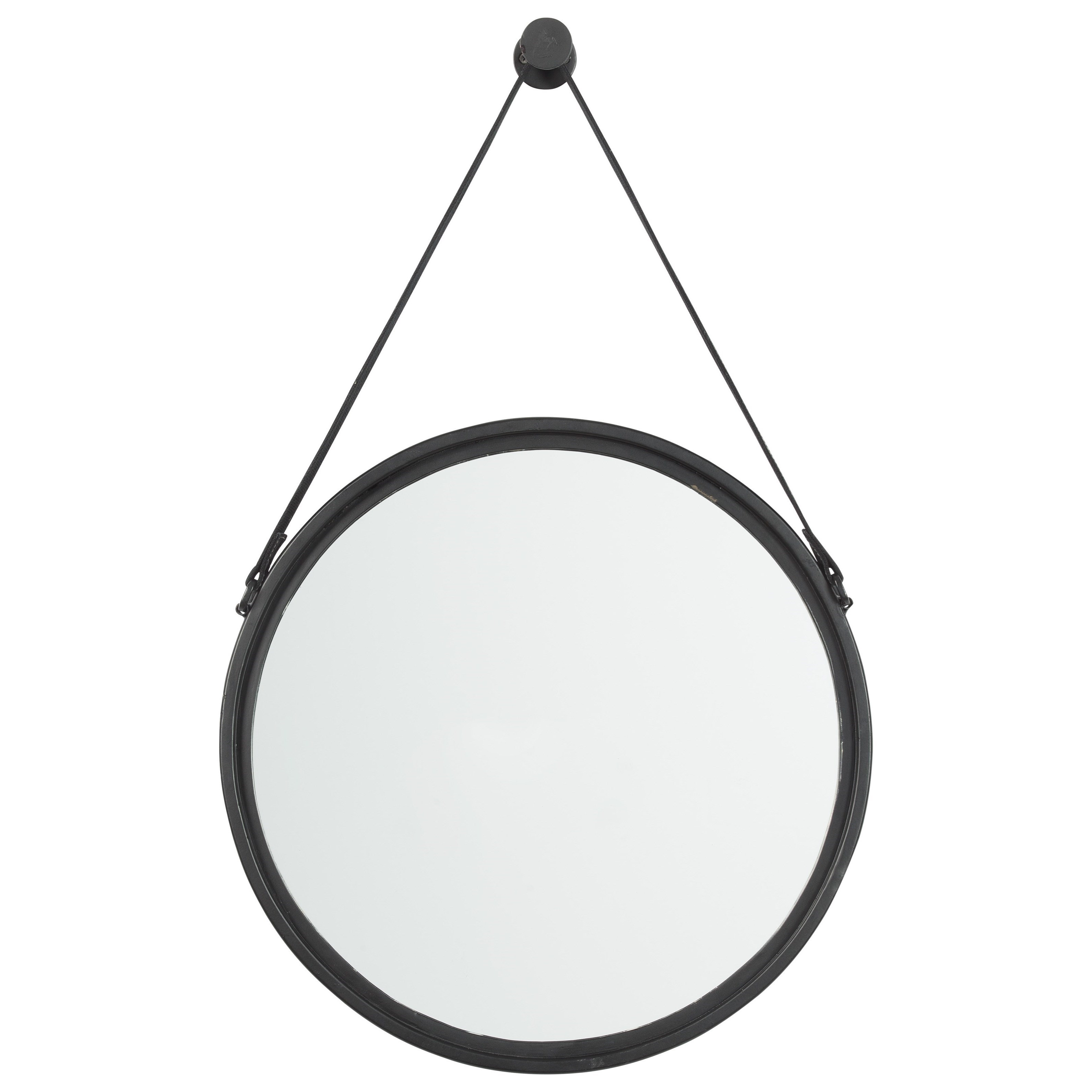 Dusan Black Accent Mirror with Leather Strap
