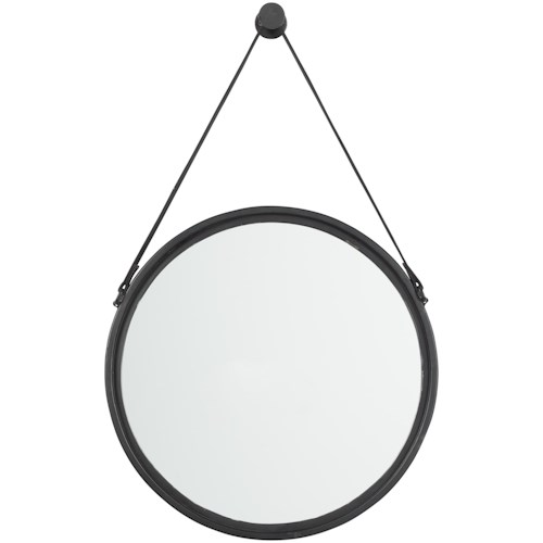 Signature Design by Ashley Accent Mirrors Dusan Black Accent Mirror with Leather Strap